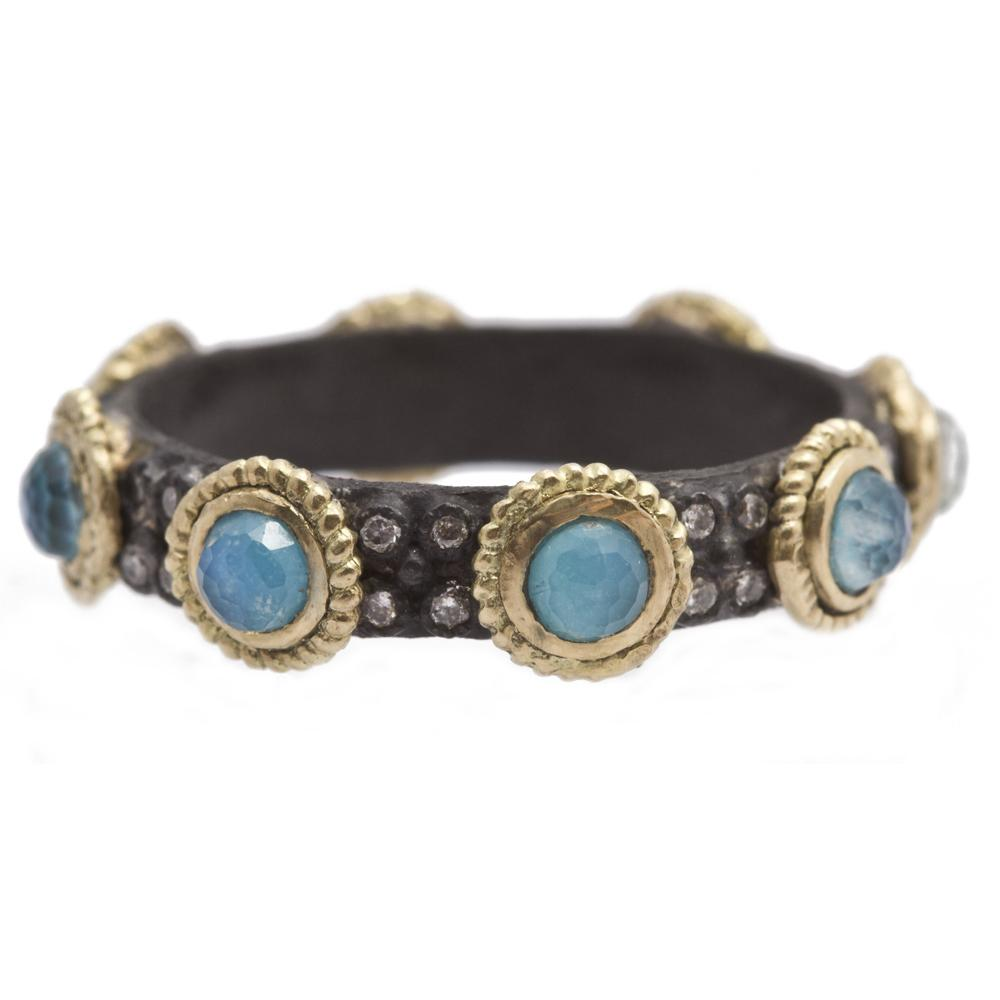 Blue Turquoise Doublet Stack Band