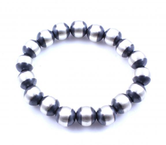 Sterling Silver 14MM Stretch Bracelet.