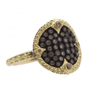 Carved Pave Disc Ring