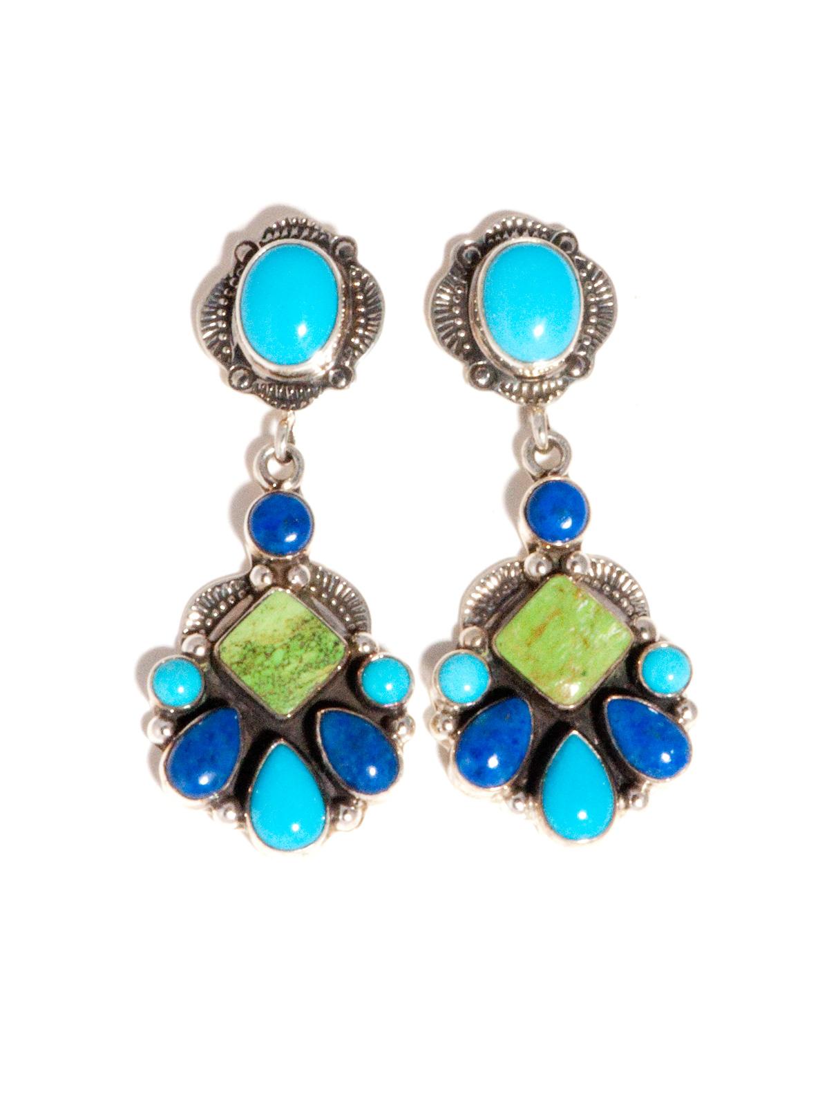 Dangle Earrings With Sleeping Beauty Turquoise, Lapis & Gaspeite