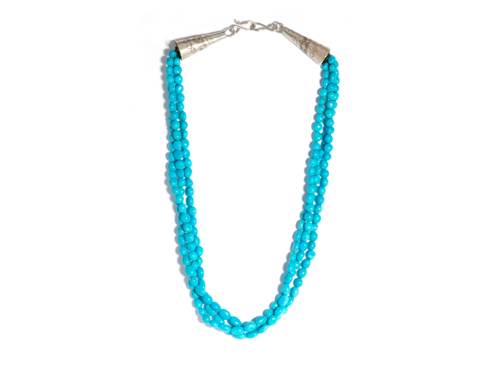 3 Strand Natural Sleeping Beauty Turquoise Bead Necklace
