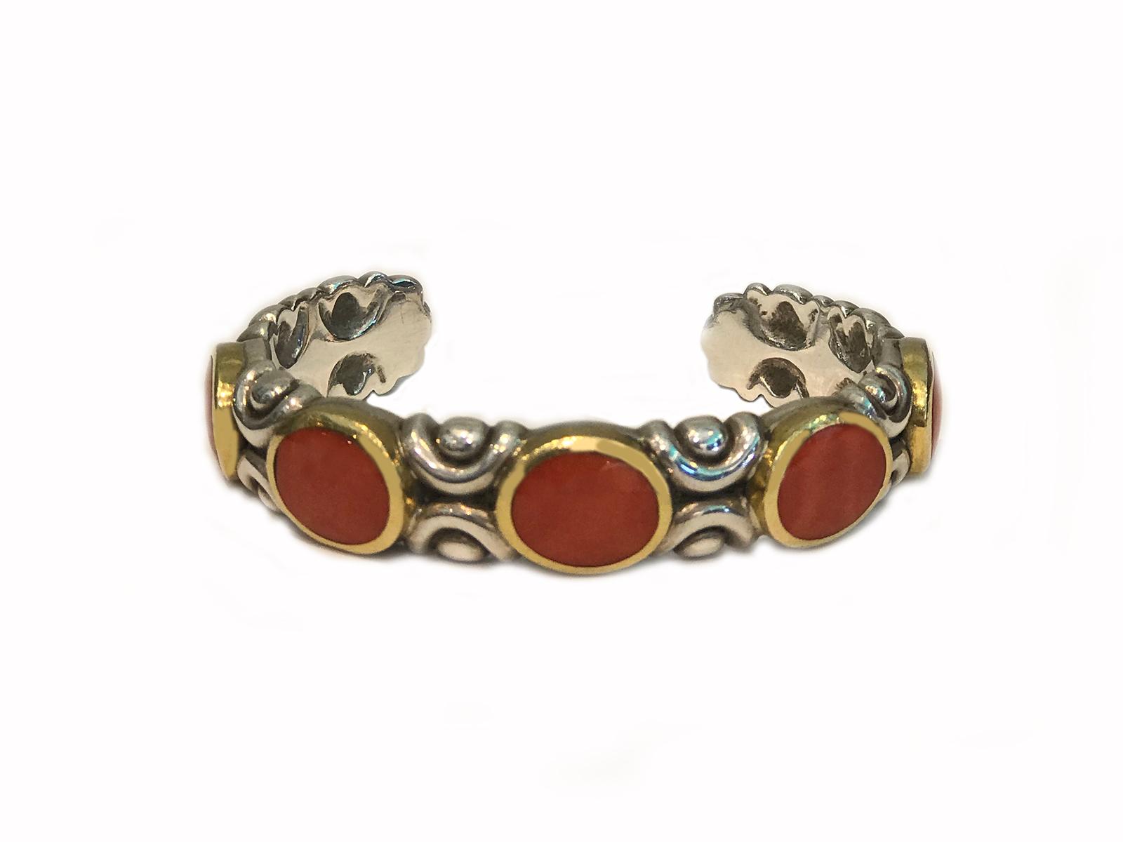 Gold Silver 5 Stone Coral Cuff