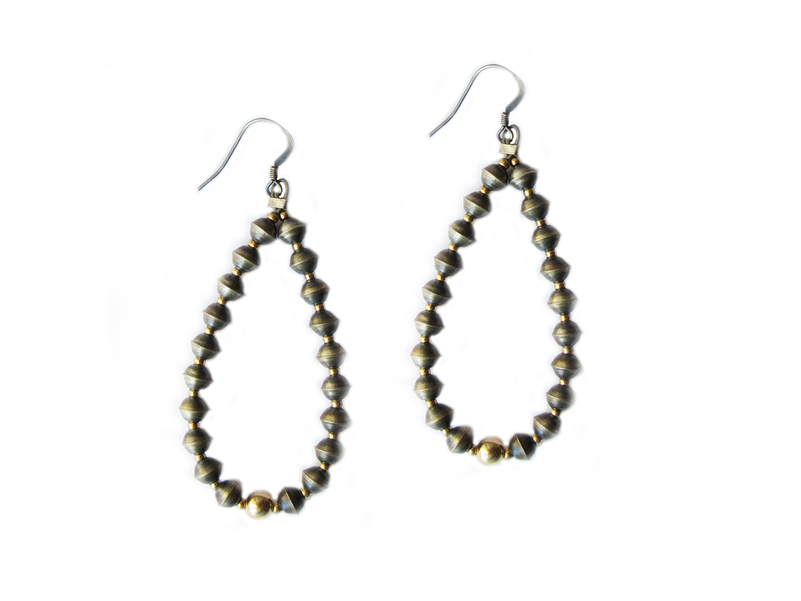 5mm Oxidized Sterling Silver Beaded Earrings