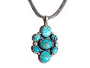 7 Stone Number 8 Turquoise Pendant
