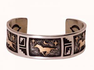 14 Karat Gold Over Sterling Silver Petroglyph Cuff Bracelet