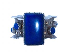 Handmade Navajo Cuff with Lapis Stone in Flower Petal Design