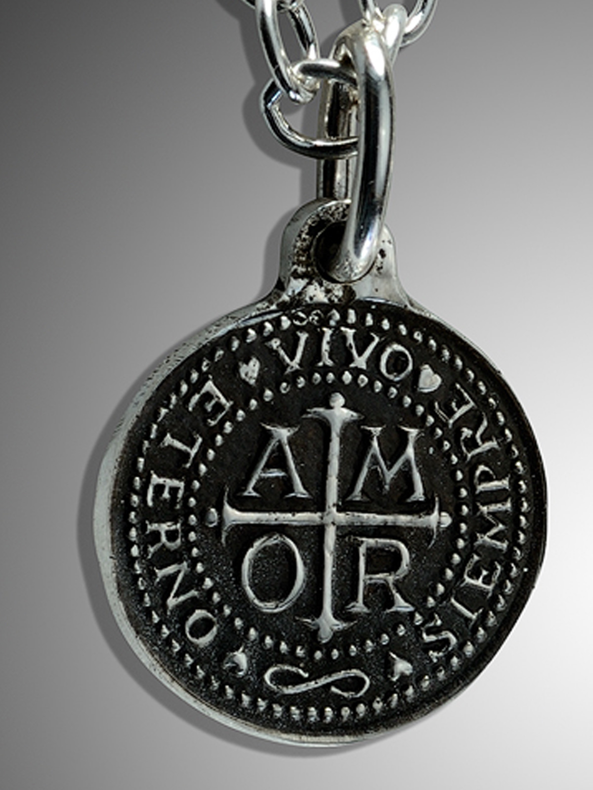Silver amor charm pendant by santa fe artist douglas magnus oxidized sterling silver amor charm pendant silver amor aloadofball Image collections