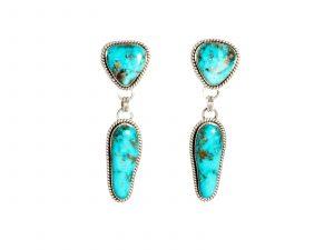 Handmade Navajo Sterling Silver Morenci Turquoise Earrings
