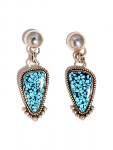 Sterling Silver Drop Earrings with Spiderweb Turquoise Stones