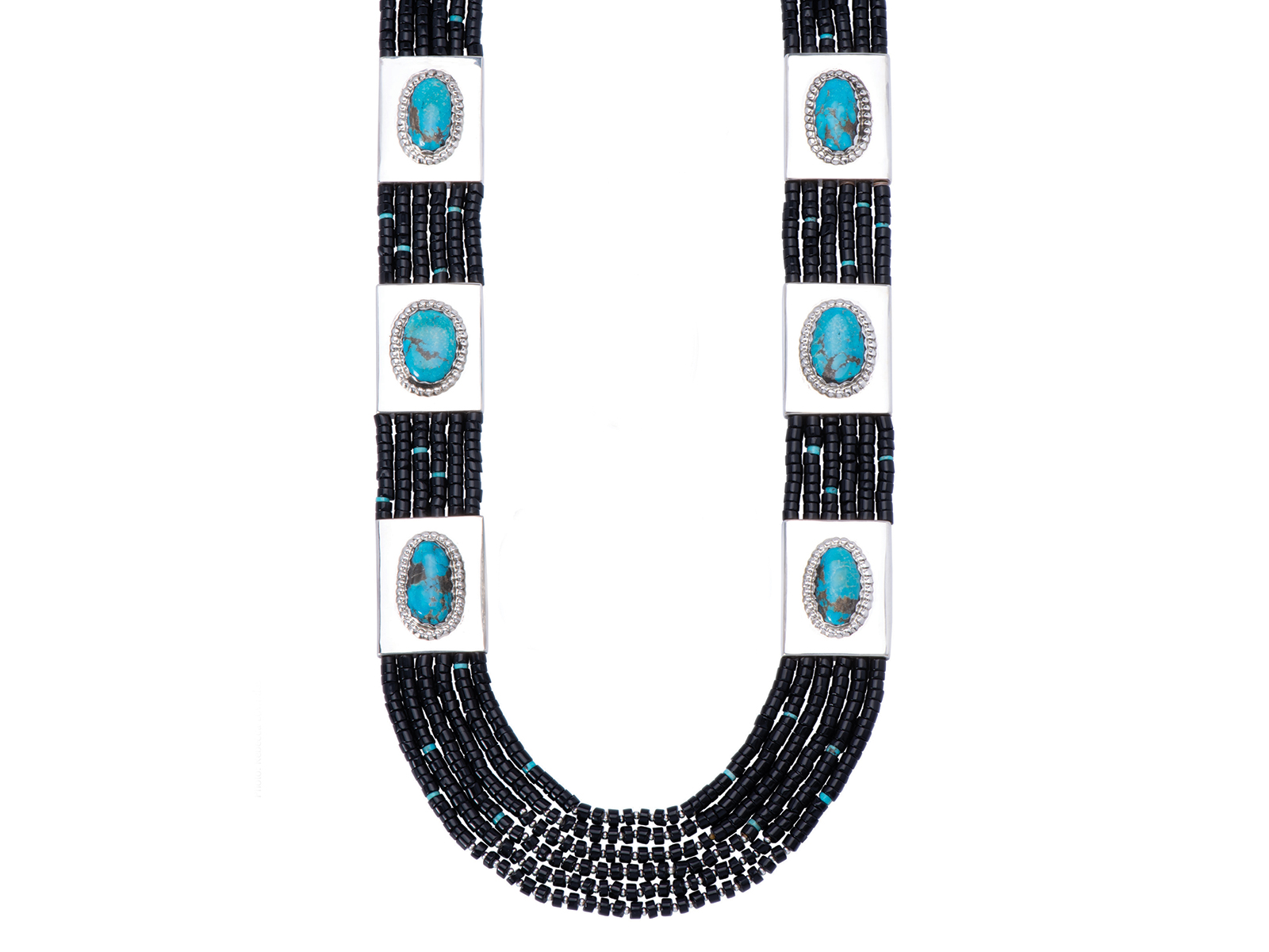 6 Strand Black Onyx Blue Gem Turquoise Necklace