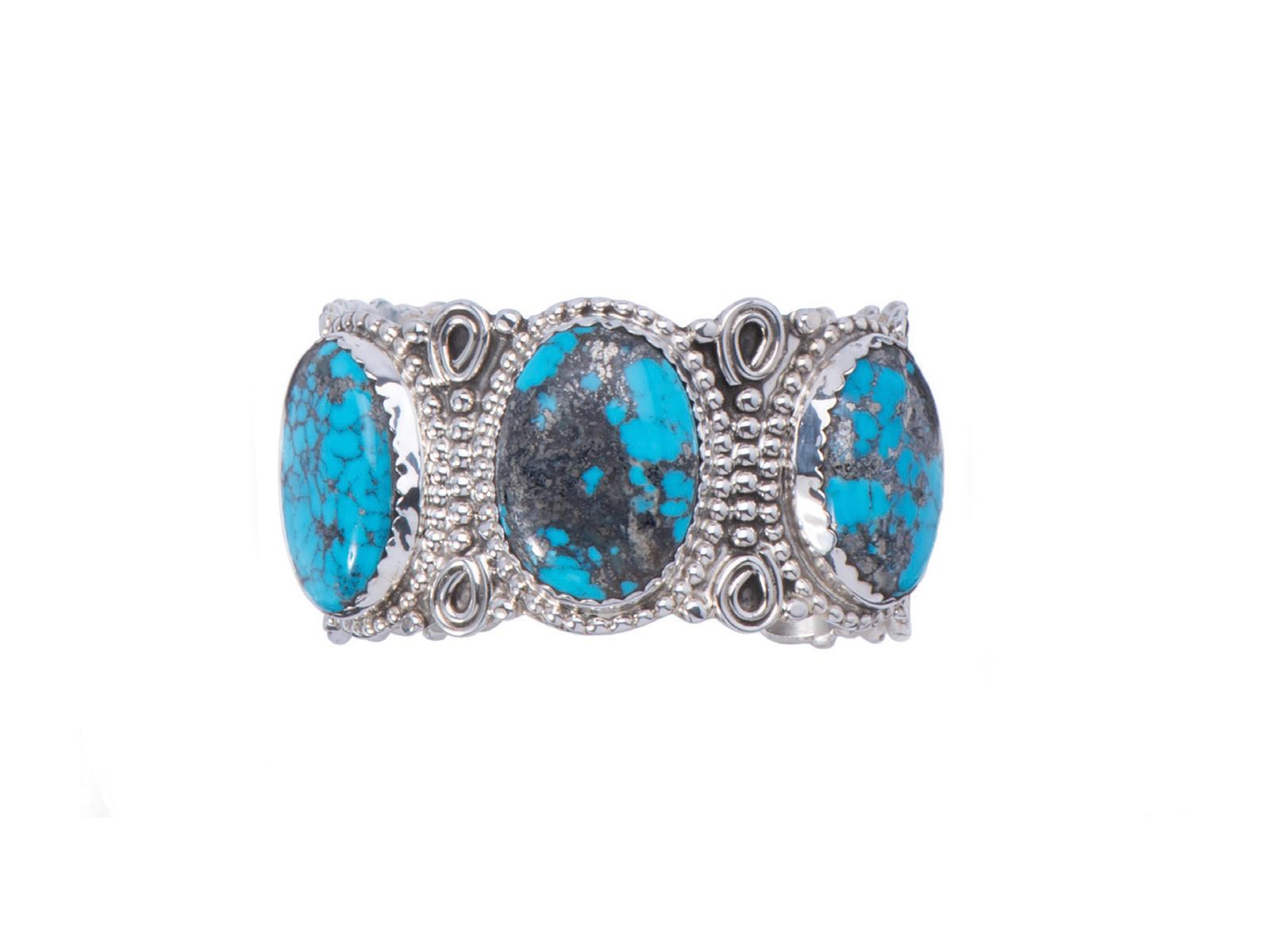 3 Stone Kingman Turquoise Silver Cuff