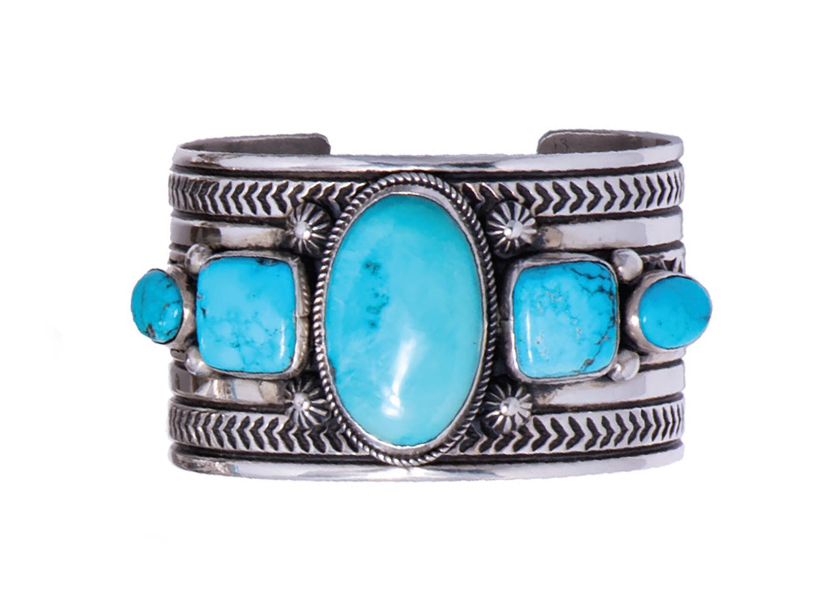 5 Stone Sleeping Beauty Turquoise Cuff