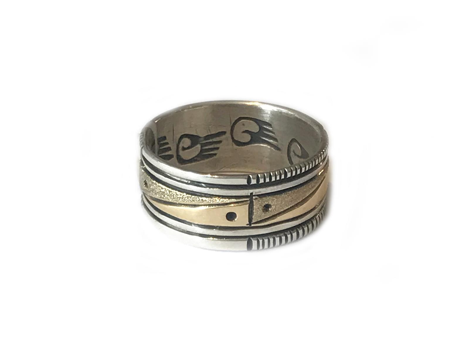 Gold Silver Geometric Ring