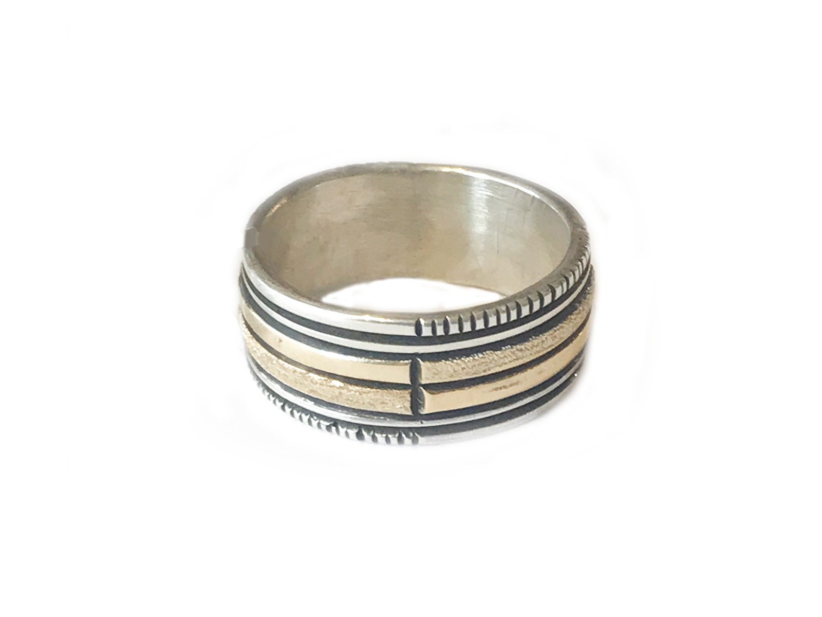 Silver Gold Square Ring