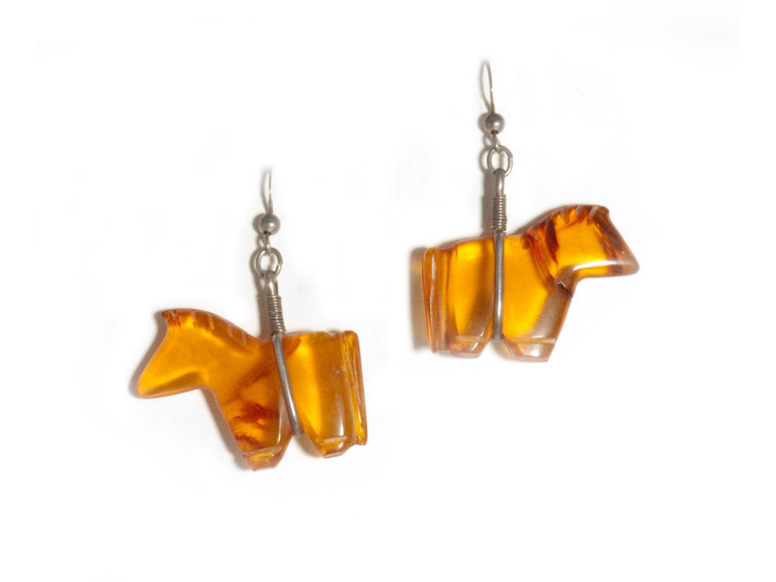 Amber Horse Earrings