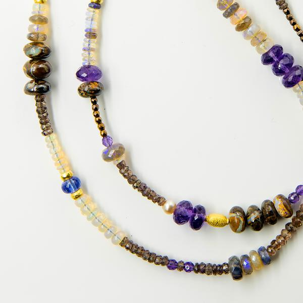 Purple Multi Gem Stone Beaded Necklace