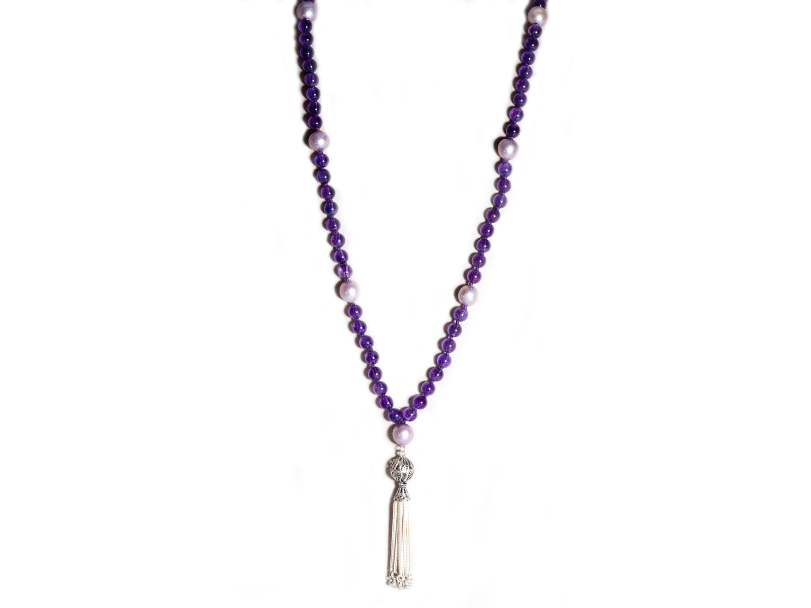 Amethyst Pearl Mala Necklace