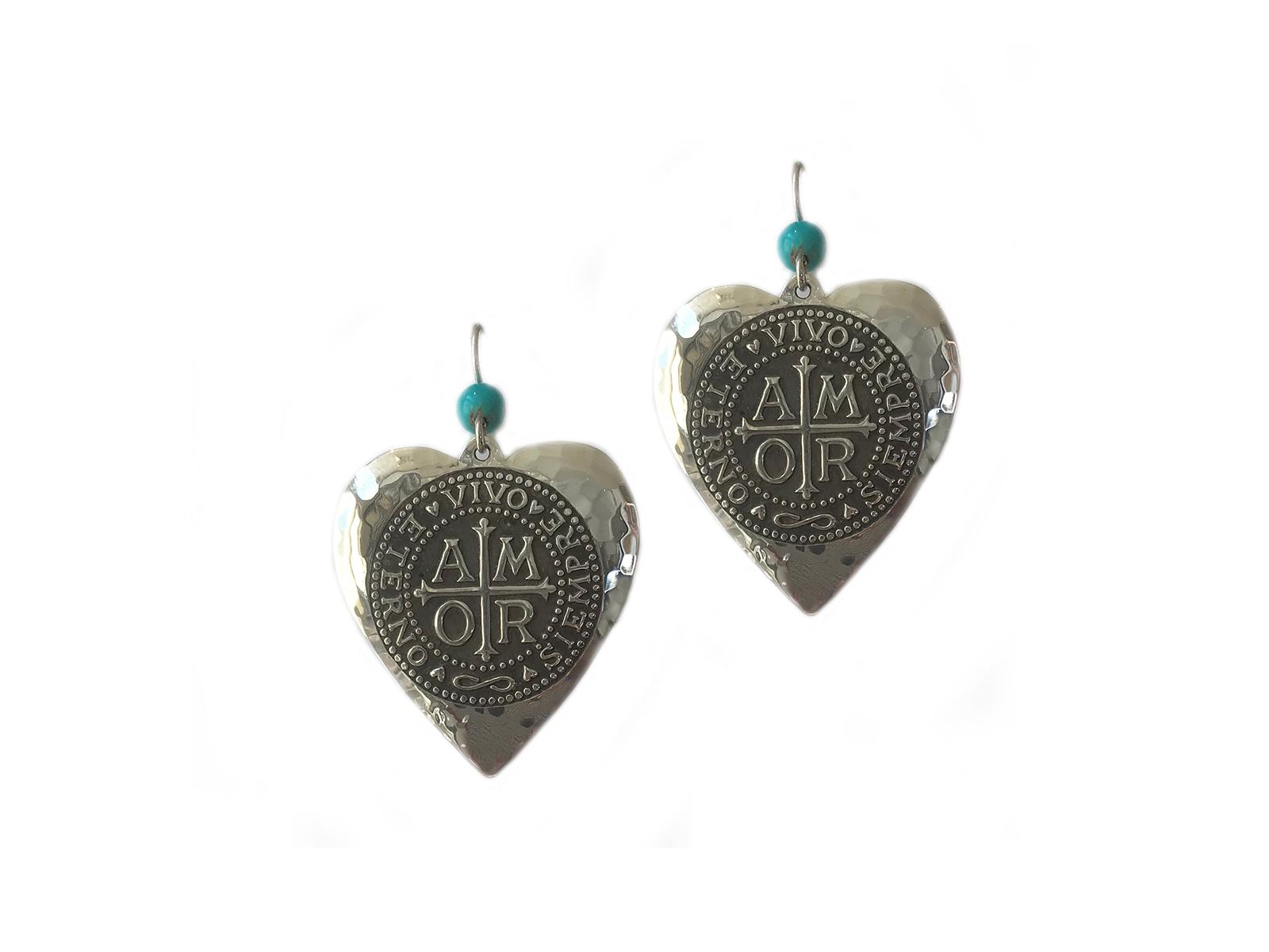 Kingman Turquoise Amor Heart Earrings