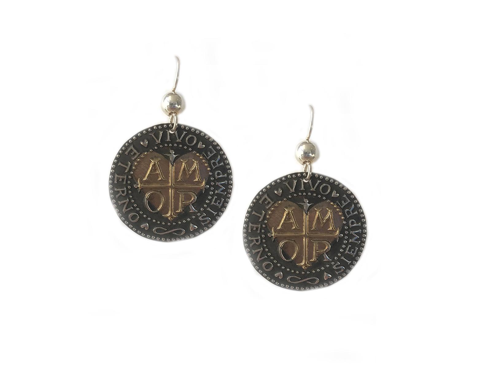 Silver Gold Amor Medallion Earrings