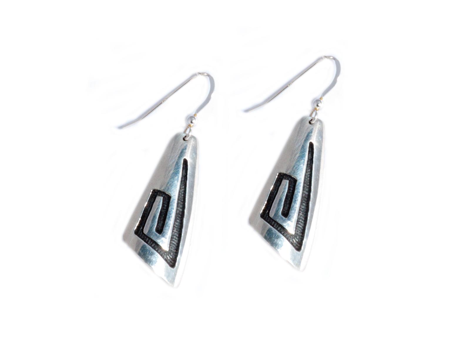 Small Silver Wave Dangle Earrings