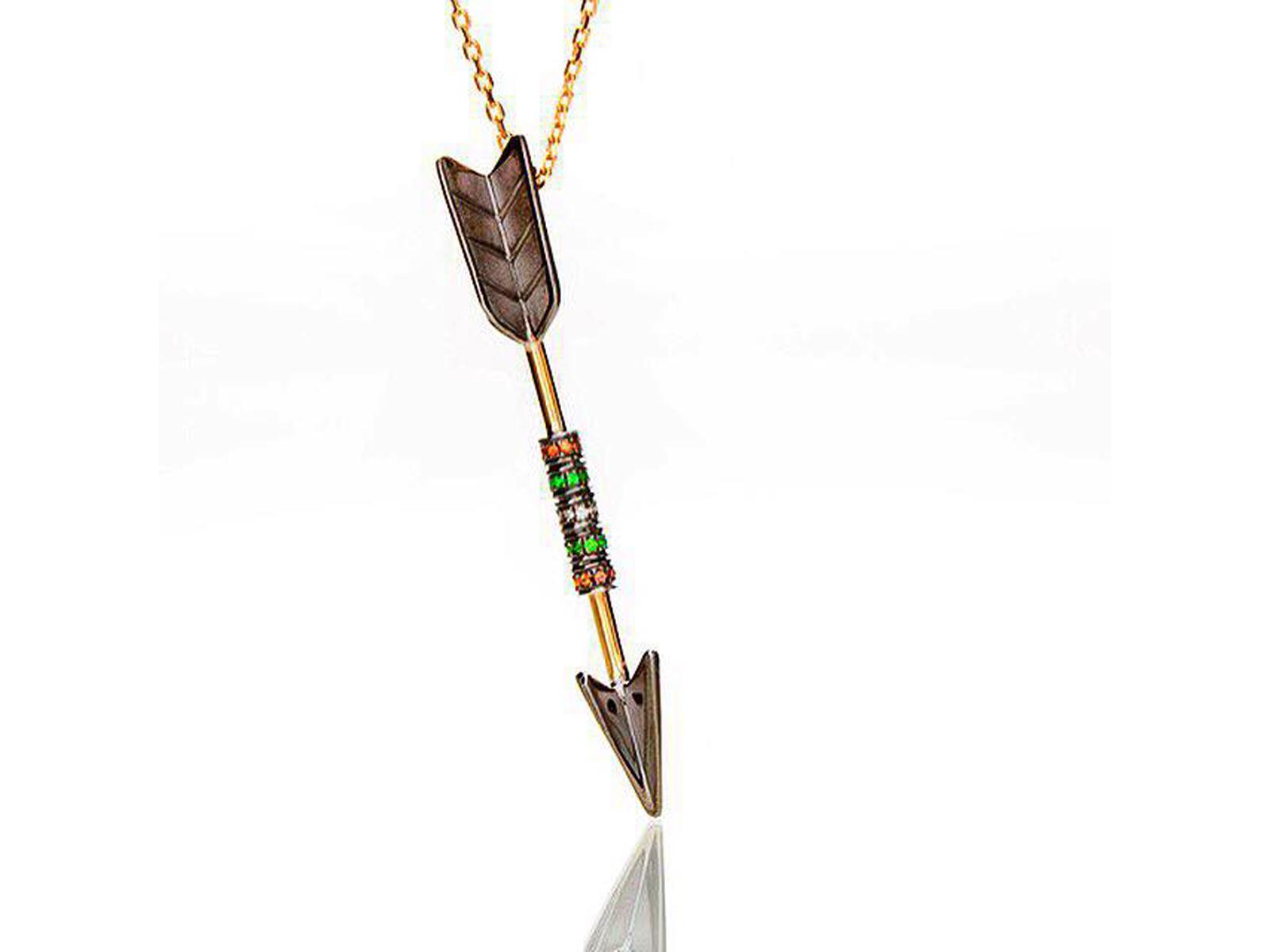 Multi Gemstone Arrow Necklace