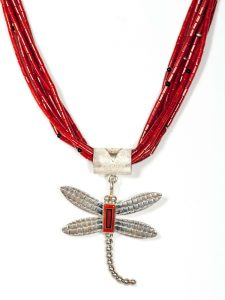 Handmade Sterling Silver Mediterranean Coral Dragonfly Necklace