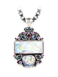 opal pink tourmaline pendant