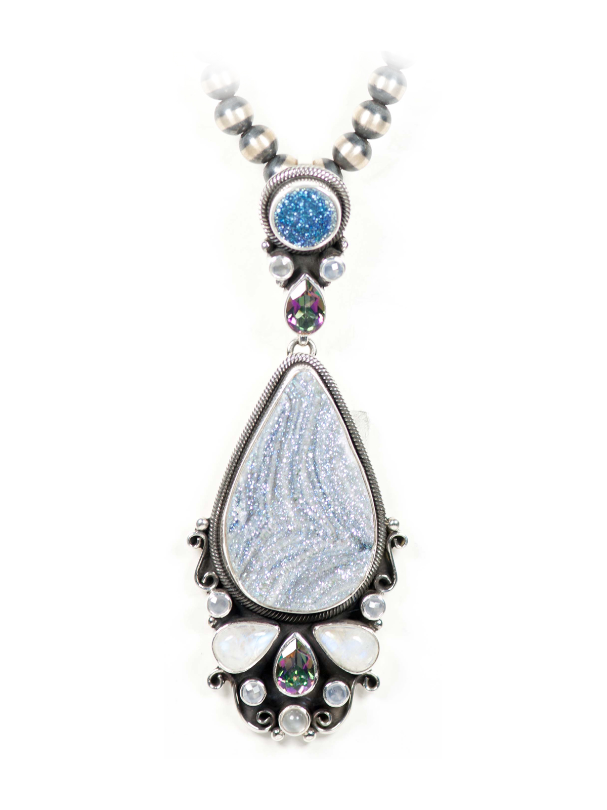 druzy moonstone pendant