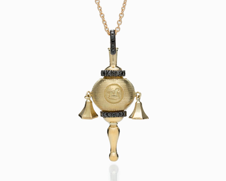 18k Gold Black Diamond Baby Rattle Necklace