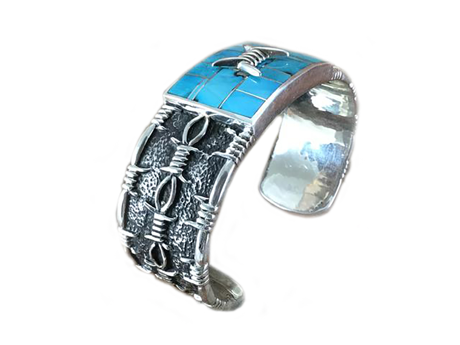 Barb Wire Turquoise Inlay Cuff