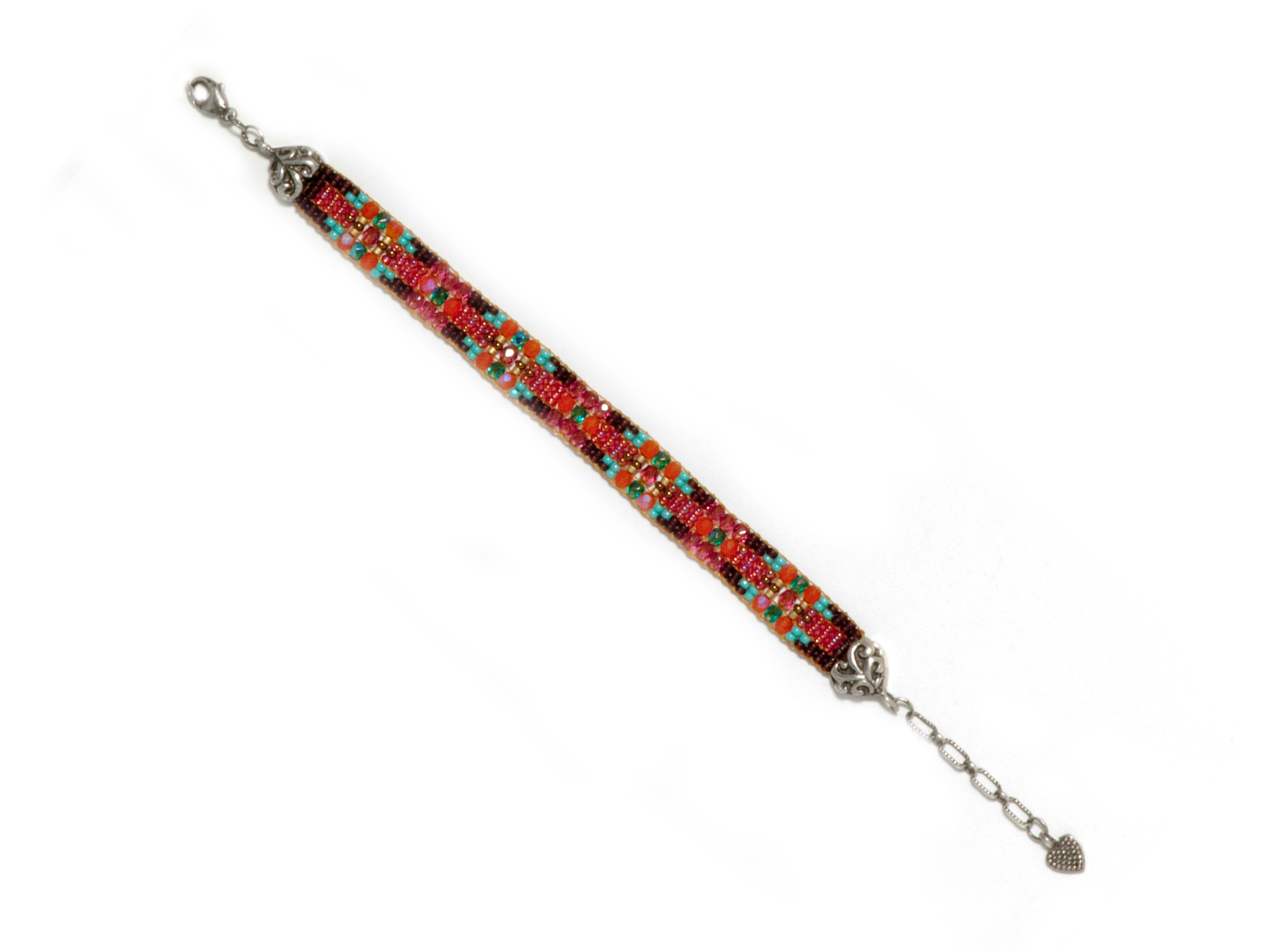 Rose Turquoise Beaded Bracelet handmade by Chili Rose Beadz.