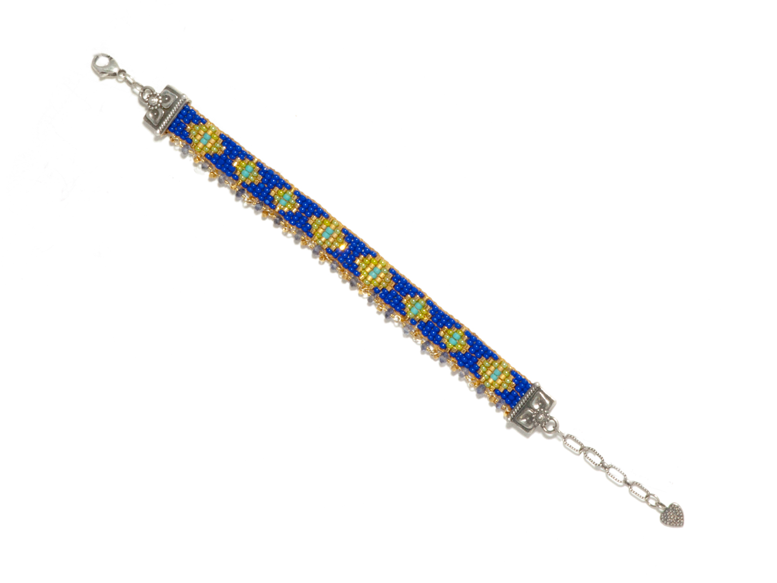 Blue Gold Beaded Bracelet