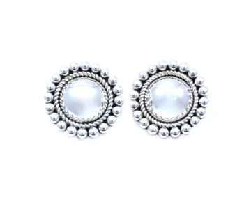 Silver Bead Dome Clip On Earrings