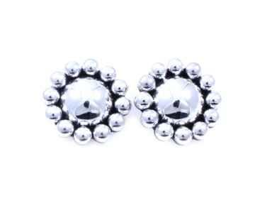 Silver Bead Clip On Earrings