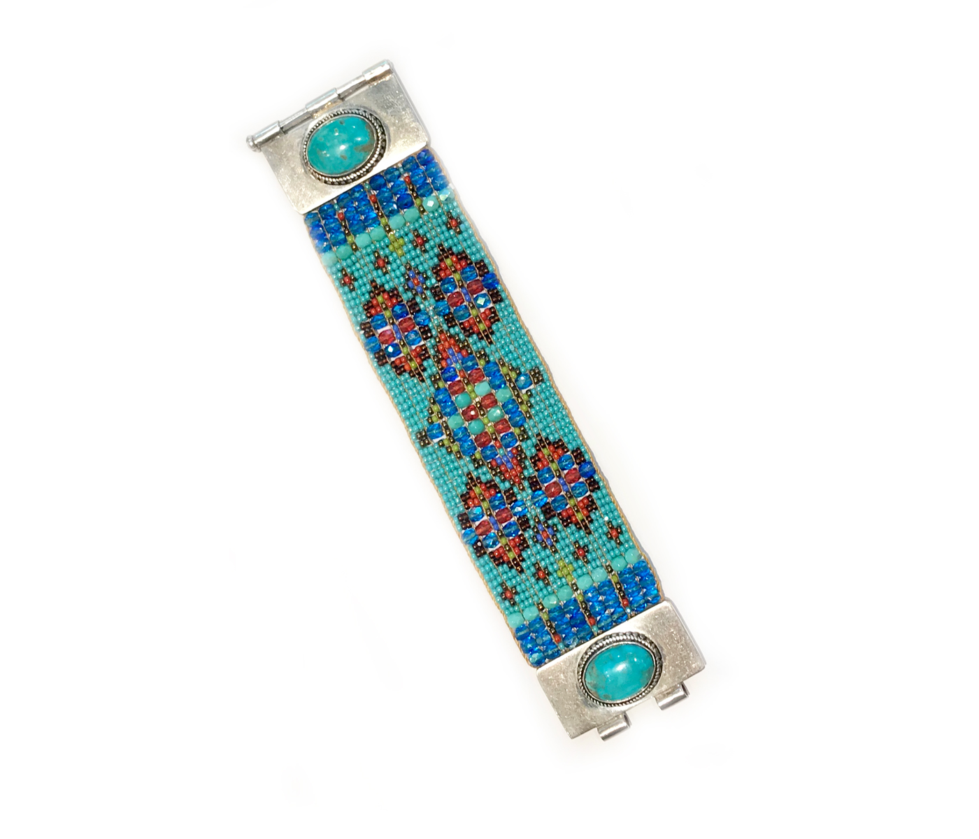 Kingman Turquoise Double Stone Beaded Bracelet
