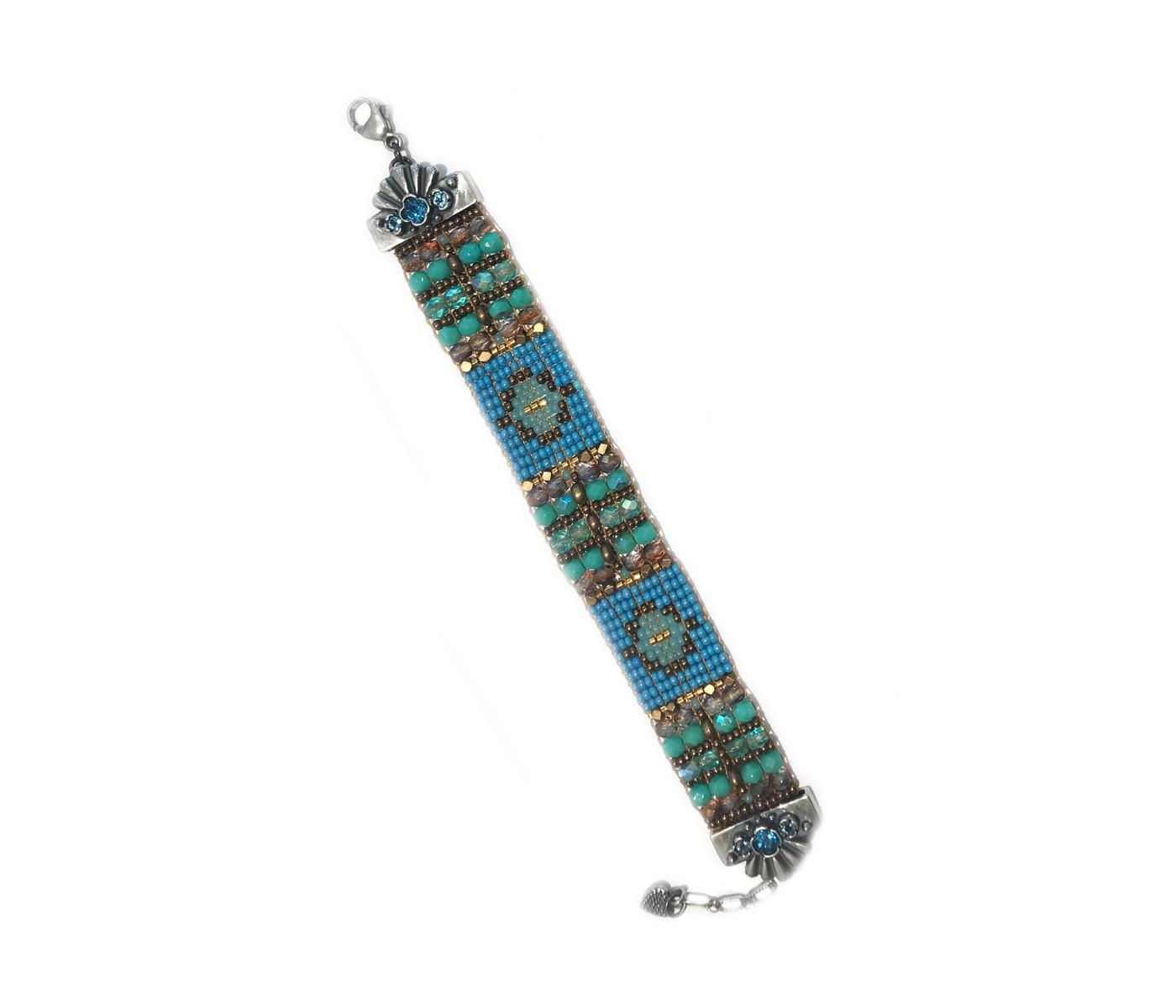 Blue Topaz Gem Tip Beaded Bracelet
