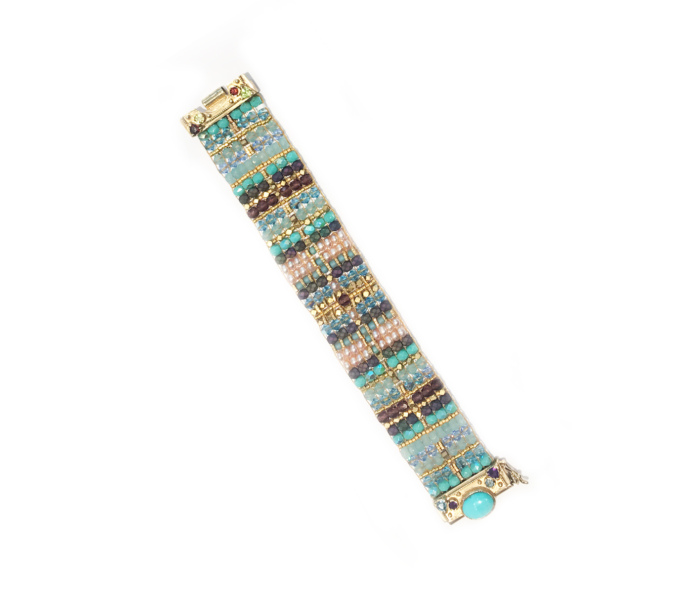 14k Gold Turquoise Beaded Bracelet
