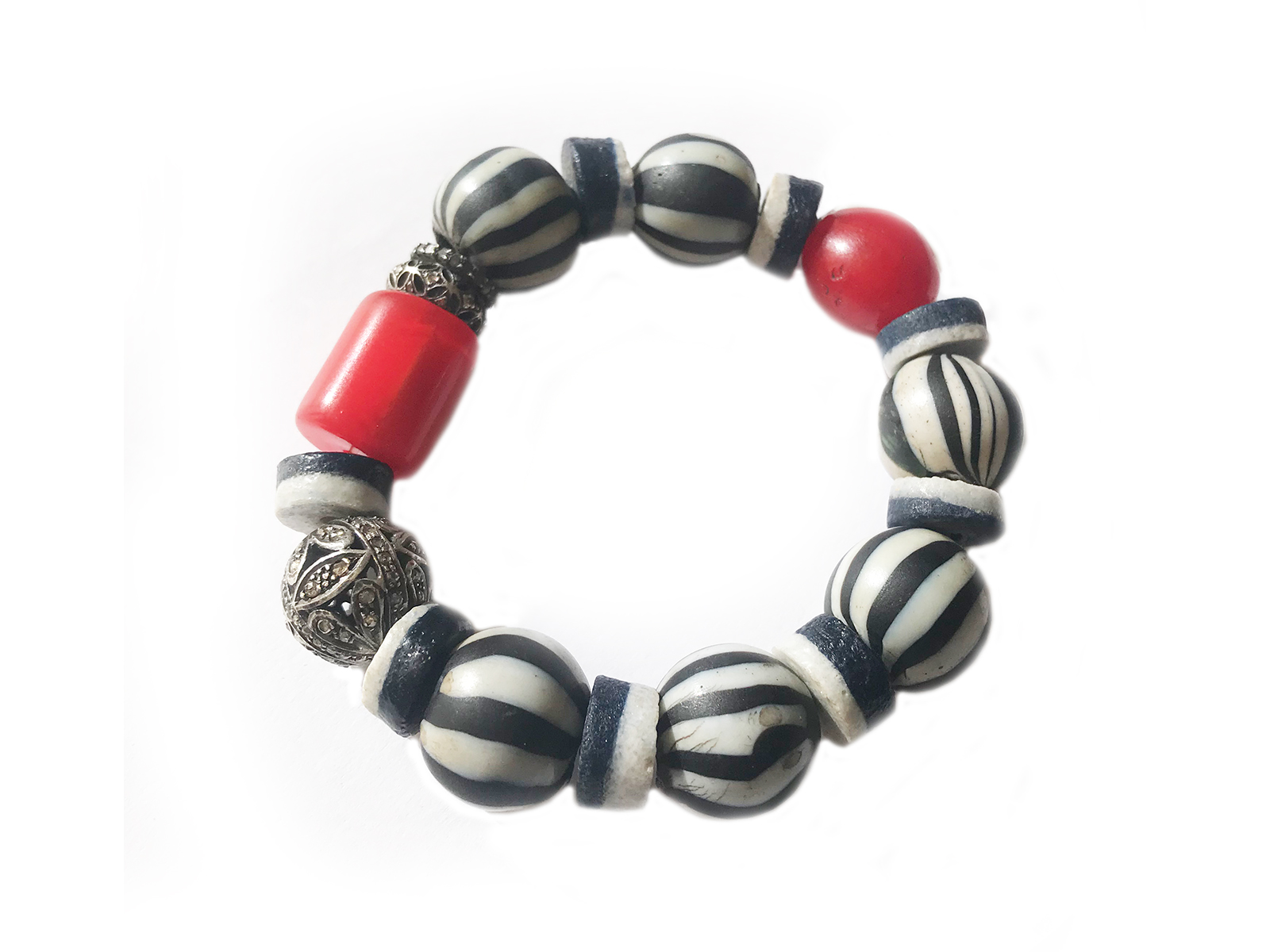 Black White Red African Trade Bead Bracelet
