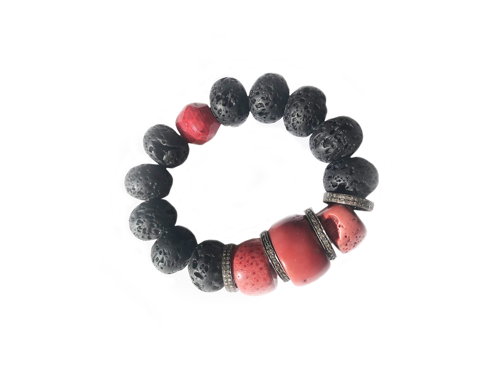 Pave Diamond Red Black Bead Bracelet