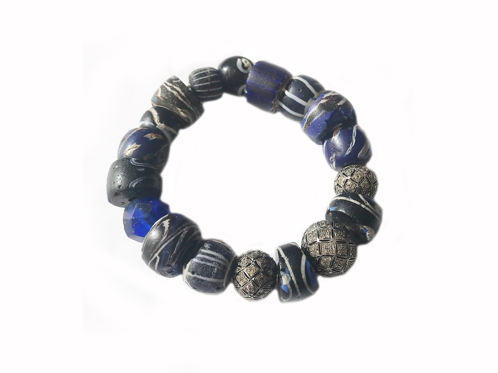 Black White Blue African Trade Bead Bracelet