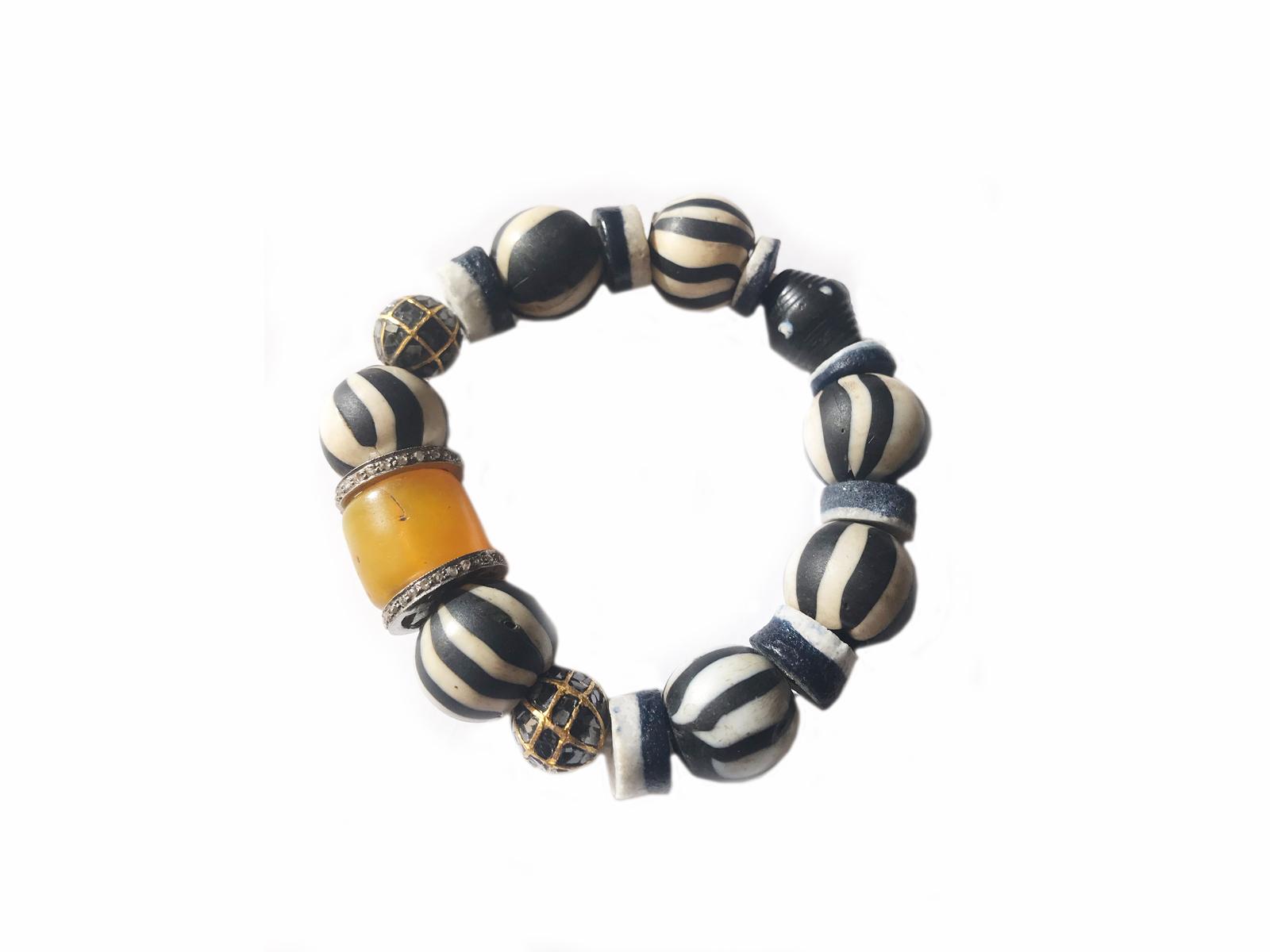 African Trade Bead Diamond Bracelet