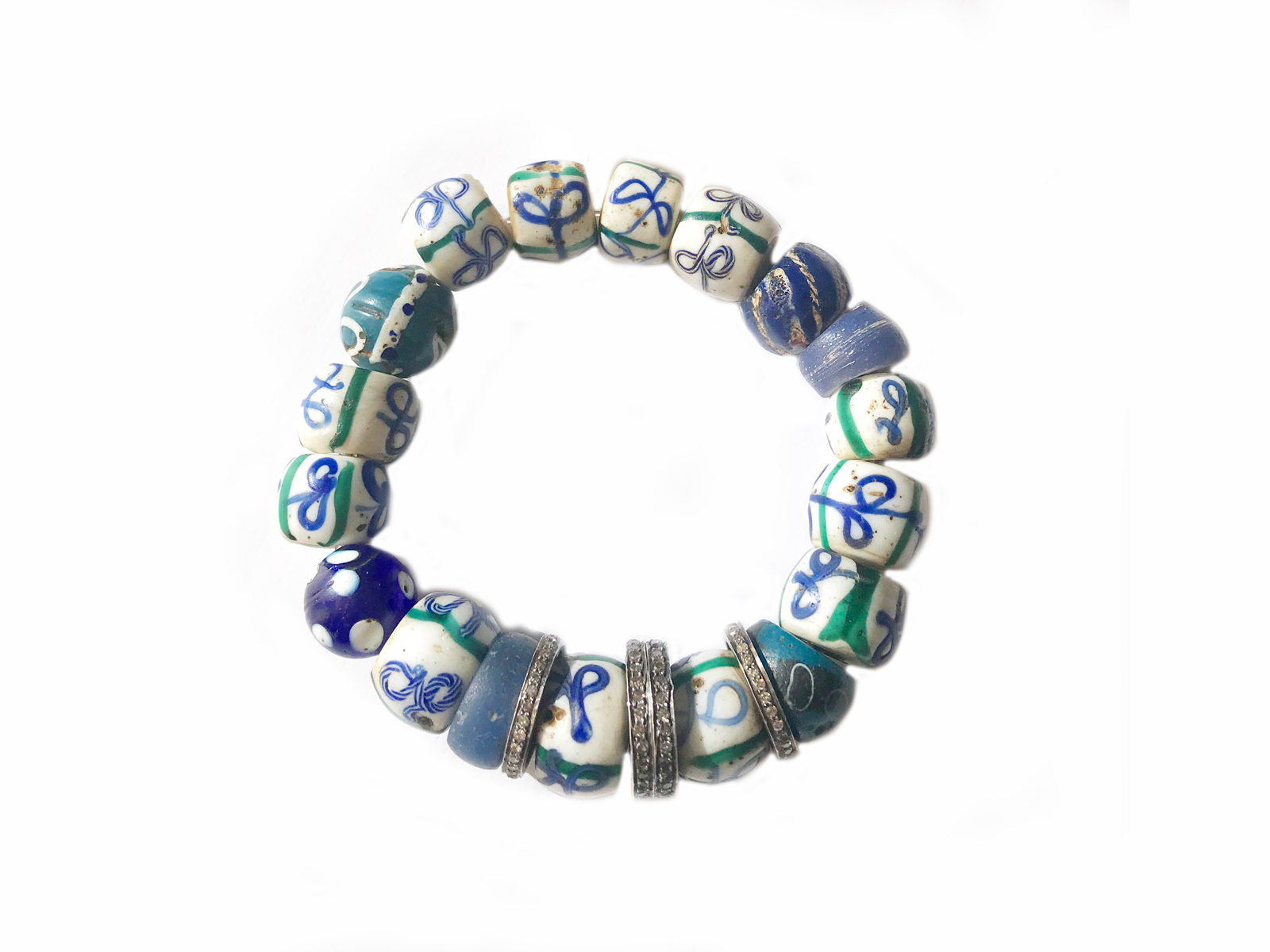 Blue White Diamond African Trade Bead Bracelet
