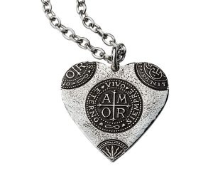 Large Silver Amor Heart Pendant