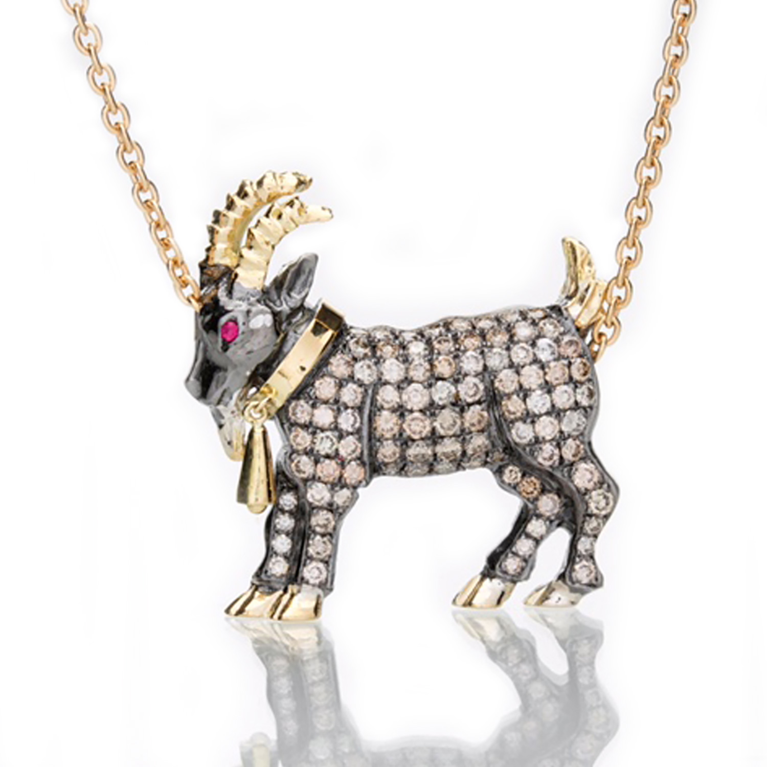 Billy Goat Diamond Necklace In Gold And Silver By Nayla Shami
