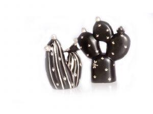 Black Cactus Salt Pepper Shakers