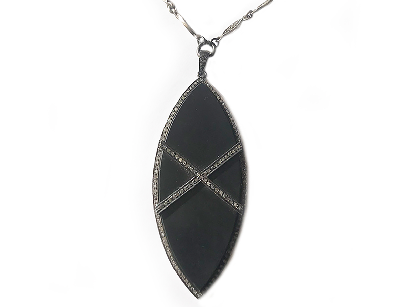 Black Enamel Diamond Necklace