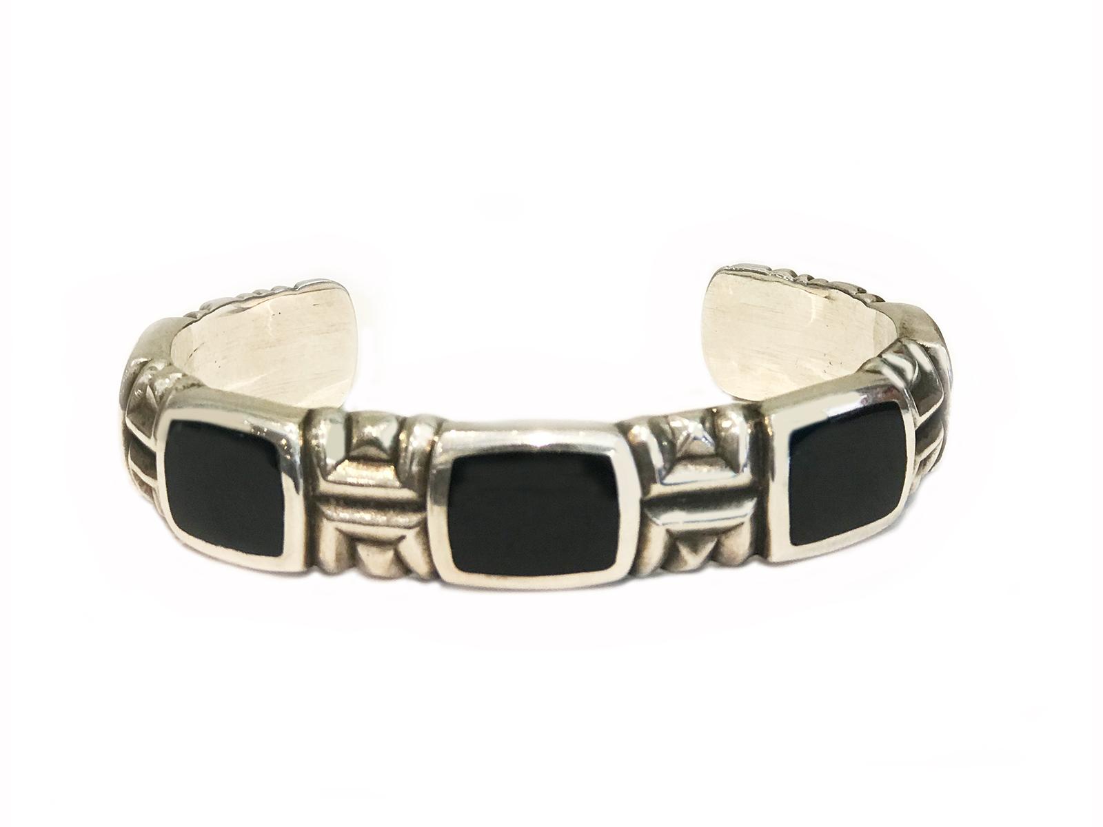 5 Stone Black Jade Cuff