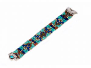 Beaded Bracelet with Turquoise Clasp