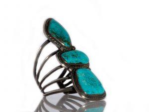 Three Stone Blue Diamond Turquoise Cuff