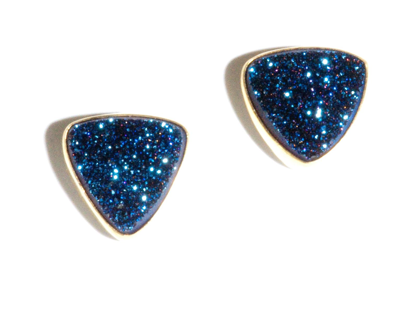 Blue Drusy Post Earrings